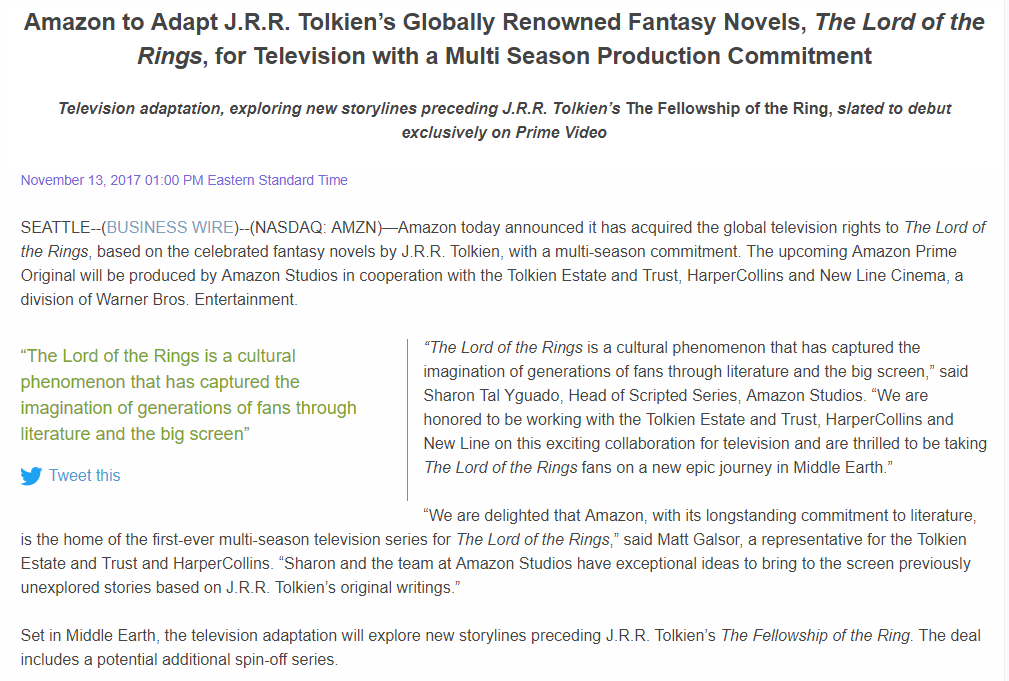 Amazon to Adapt J.R.R. Tolkien's Globally Renowned Fantasy Novels The Lord of the Rings for Television with a Multi Season Production Commitment Business Wire (1)
