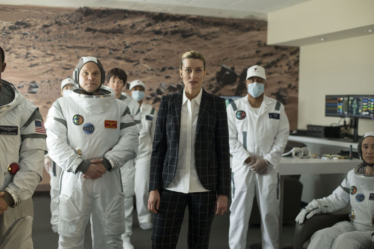 THE FIRST -- Sean Penn leads an ensemble cast in this near-future drama about a crew of astronauts attempting to become the first humans on Mars. Under the direction of visionary aerospace magnate Laz Ingram (Natascha McElhone), the crew contends with peril and personal sacrifice as they undertake the greatest pioneering feat in human history. Laz Ingram (Natascha McElhone), shown. (Photo by: Paul Schrimaldi/Hulu)