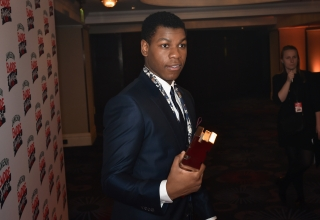 LONDON, ENGLAND - MARCH 20:  John Boyega with the award for Best Male Newcome in the winners room at the Jameson Empire Awards 2016 at The Grosvenor House Hotel on March 20, 2016 in London, England.  (Photo by Gareth Cattermole/Getty Images)