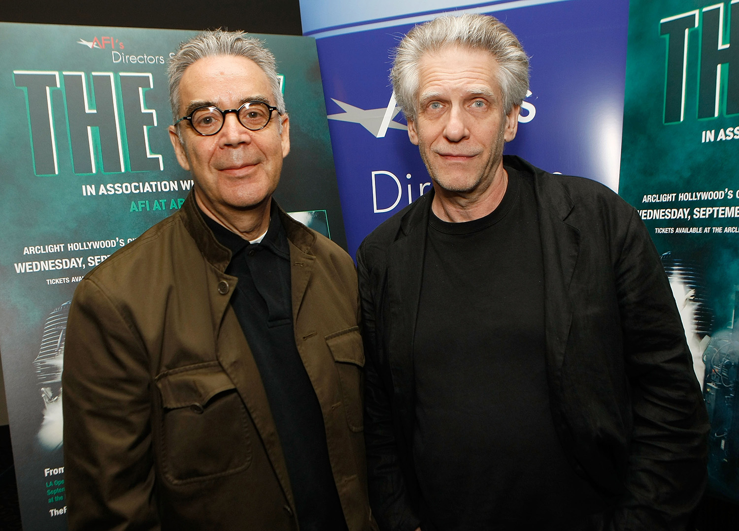 "LOS ANGELES, CA - SEPTEMBER 03: Composer Howard Shore (L) and director David Cronenberg attend AFI Directors Screening Of ""The Fly"" With David Cronenberg on September 3, 2008 in Los Angeles, California. (Photo by Michael Buckner/Getty Images)"