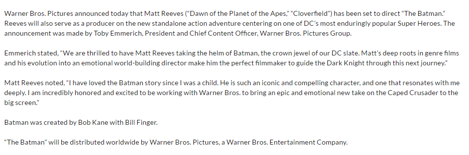 "Matt Reeves to Direct and Produce ""The Batman"""