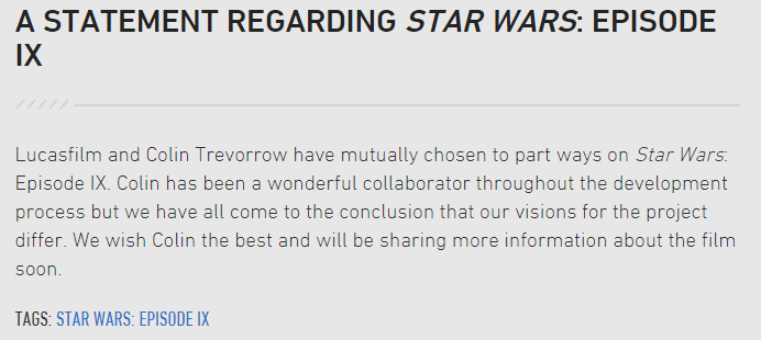 A Statement Regarding Star Wars Episode IX StarWars.com