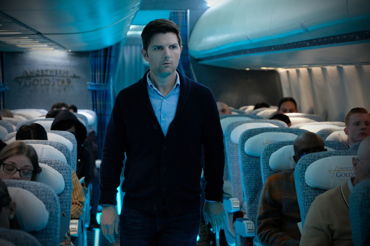 """Nightmare at 30,000 Feet"" -- Pictured: Adam Scott as Justin Sanderson of the CBS All Access series THE TWILIGHT ZONE available to stream on Monday, April 1st. Photo Cr: Robert Falconer/CBS �© 2018 CBS Interactive. All Rights Reserved."